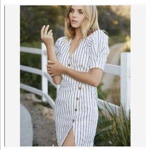 NWT Saylor Women's Pauline Stripe Linen Dress